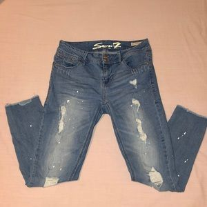 Seven7 Distressed Blue Jeans